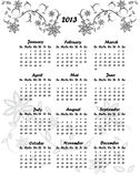 2013 floral calendar. On white Stock Image
