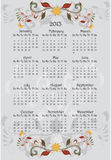 2013 floral calendar. Whit flowers Stock Photo