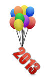 2013 flying away and balloons. Illustration design over white Royalty Free Stock Photo