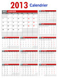2013 French Business Calendar Template Stock Photography
