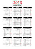 2013 French Calendar Template Stock Images