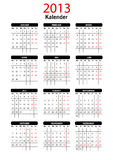 2013 German Calendar Template Stock Photo