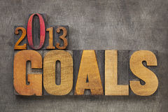2013 goals. New Year resolution concept - text in vintage letterpress wood type blocks against grunge metal background royalty free stock image