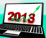 2013 Going Up On Laptop Shows Next Year's Sales Stock Image