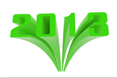 2013 green. Green 2013 3d text in white Stock Images