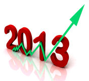 2013 Green Arrow Shows Sales For Year. 2013 Green Arrow Showing Sales Turnover For Year Royalty Free Stock Photos