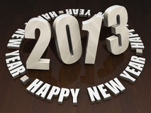 2013 Happy New Year. Wooden letters 2013 Happy New Year on a dark wood table top Stock Photos
