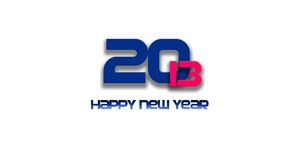 2013 happy new year. 2013 blue and pink text on white background Stock Photo