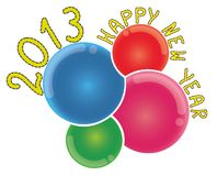 2013 Happy New Year on Abstract Colorful Bubbles Royalty Free Stock Image
