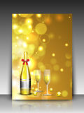 2013 Happy New Year background. EPS 10. Beautiful greeting card or gift card on shiny snowflakes background with Champagne bottle and glasses for 2013 Happy New Royalty Free Stock Photography