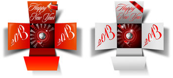 2013 Happy New Year Box. Two open box with timer and written happy new year 2013 on white background royalty free illustration