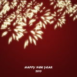 2013 Happy New Year card on red background. Happy New Year card with fireworks on a red background stock illustration