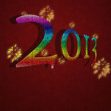 2013 Happy New Year card on red background Royalty Free Stock Photography