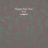 2013 Happy New Year card on vintage background. Happy New Year card with floral vintage motives background Royalty Free Stock Photo