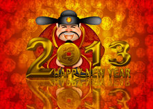 2013 Happy New Year Chinese Money God Illustration. 2013 Happy New Year Chinese Money Prosperity God Holding Round Gold Dragon Coin Illustration Royalty Free Stock Photos