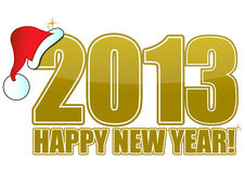 2013 happy new year golden. Sign with Santa's hat Royalty Free Stock Image