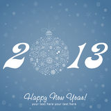 2013 Happy New Year greeting card. With stylized design Christmas tree toy ball made of stars and snowflakes Royalty Free Stock Photos