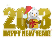 2013 Happy new year snowman text Stock Photography