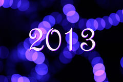 2013 Happy New Years. For Night light lens blur Stock Photo