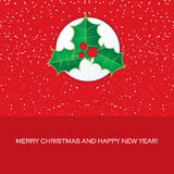 2013 Holiday card with red Christmas tree Stock Photos