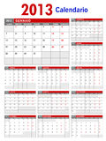 2013 Italian Calendar Template Royalty Free Stock Photos