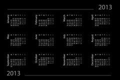 2013-Jahr-Kalender Lizenzfreies Stockfoto