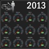 2013 Jahr Kalender-Geschwindigkeitsmesserauto im Vektor. Stockfotografie