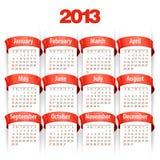 2013 Kalendarz. Wektorowa Ilustracja Obraz Stock
