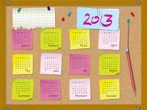 2013 kalender - vecka startar på söndag - cork brädet Arkivfoton