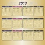 2013 kalenderengelska Royaltyfri Illustrationer