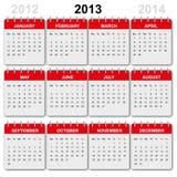 2013 kalenderengelska Stock Illustrationer