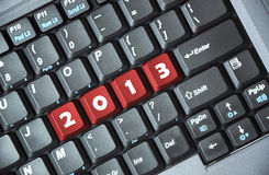 2013 on keyboard. Keyboard with red button, spelling 2013 royalty free illustration