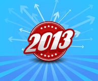 2013 label. On blue background with arrows.Vector art vector illustration