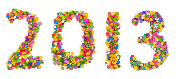 2013 made of confetti. Isolated on white background Stock Photo