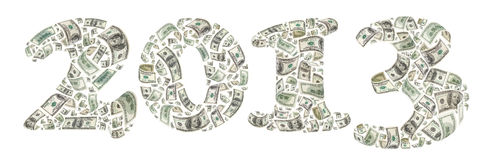 2013 made by flying 100 dollars banknotes Stock Photography