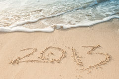 2013 markierten den Sand am Strand Stockfoto