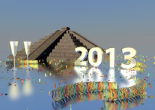 2013 with maya pyramide Stock Photography