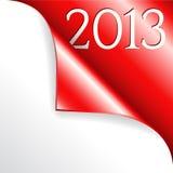 2013 mit roter gekräuselter Ecke Lizenzfreie Stockfotografie