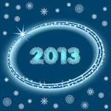 2013 mit Sternen und Schneeflocken Lizenzfreie Stockbilder