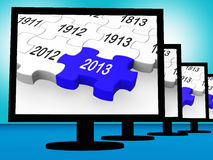 2013 On Monitors Shows Future Year. 2013 On Monitors Shows Year Or Calander Royalty Free Stock Image