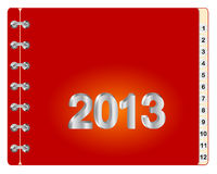 2013 monthly diary. Design template monthly diary for 2013 or the calendar. Vector Stock Image
