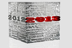 2013 New Year. Modeled with tridimensional numbers in a cube Stock Images