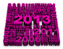 2013 New Year. Modeled with 3D numbers in pink color royalty free illustration