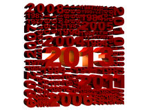 2013 New Year. Modeled with tridimensional numbers stock illustration