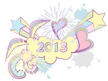 2013 New Year. Colorful doodle background royalty free illustration