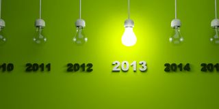 2013 New Year. Sign with light bulb Royalty Free Stock Photography