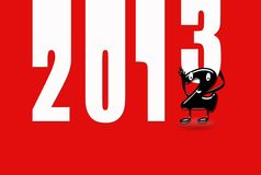 2013 new year. Illustration with 2013 numbers on red background royalty free illustration