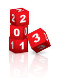 2013 New Year. Red and white cubes celebrating coming of 2013 Stock Photo