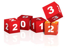 2013 New Year. Red and white cubes celebrating coming of 2013 Royalty Free Stock Photos
