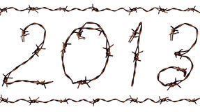 2013 New Year. A photo of 2013. These figures were made of barbed wire Royalty Free Stock Images
